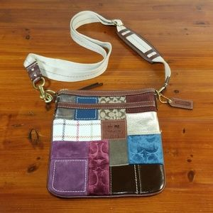 Coach Patchwork Color Leather Suede Crossbody Bag